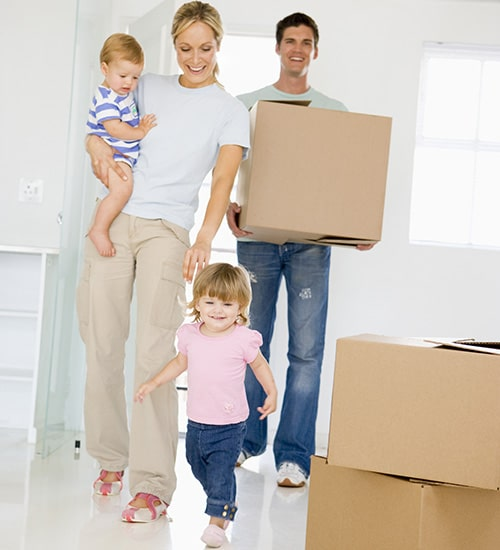 A happy family after their Virginia move, thanks to Great Nation Moving.